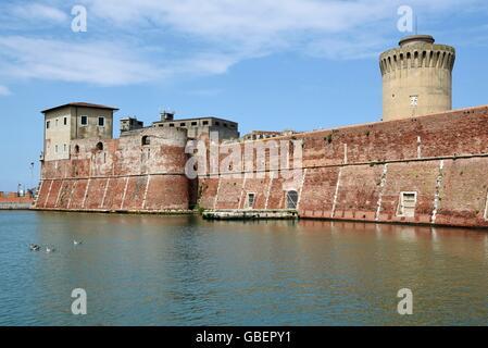 Fortezza Vecchia, fortress, castle, harbour, Livorno, Tuscany, Italy - Stock Photo