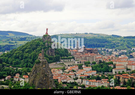 View on Le Puy-en-Velay, statue 'The Virgin Mary' on Rocher Corneille, cathedral, Saint Michel d'Aiguilhe Chapel, - Stock Photo