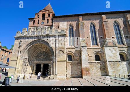 Saint-Pierre abbey, former Benedictine abbey, Moissac, Way of St James, Department Tarn-et-Garonne, Midi-Pyrenees, - Stock Photo