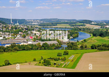 River Ruhr, view from castle Volmarstein, Wetter, North Rhine-Westphalia, Germany - Stock Photo