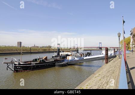 Museum ship, promenade, Museum of German inland shipping, harbour, Duisport, Duisburg-Ruhrort, Duisburg, North Rhine - Stock Photo
