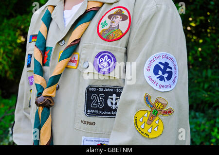 Boy, 13 years, shirt, scarf, gear, badges, Boy Scout, Germany - Stock Photo