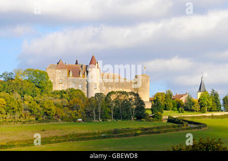 Chateauneuf-en-Auxois castle, Chateauneuf, Dijon, Departement Cote-d'Or, Bourgogne, France / Burgundy - Stock Photo