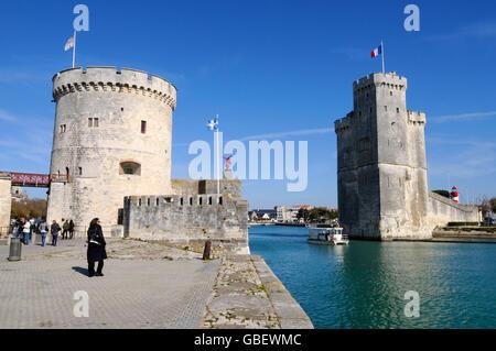 Tour de la Chaine and Tour Saint Nicolas, La Rochelle, Departement Charente-Maritime, Poitou-Charentes, France - Stock Photo