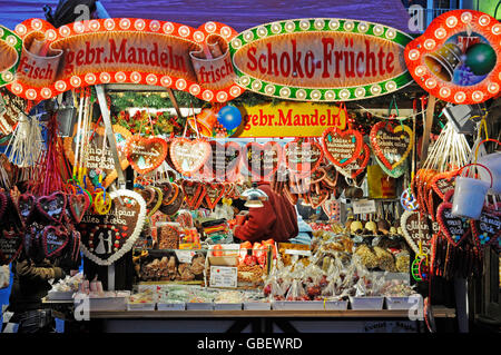 Market stall with gingerbread and sweets, christmas market, Dortmund, North Rhine-Westphalia, Germany / Christmas - Stock Photo