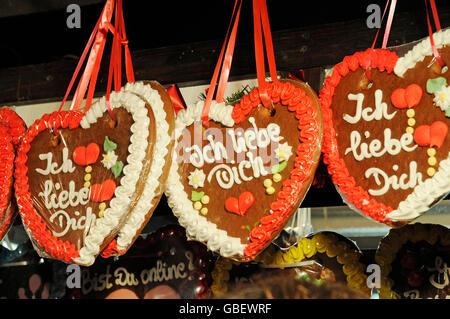 Market stall with gingerbread, I love you, christmas market, Dortmund, North Rhine-Westphalia, Germany / Christmas - Stock Photo