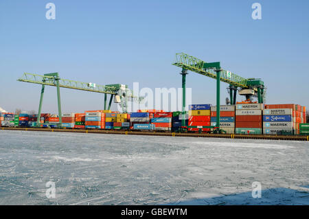 Frozen harbour, Dortmund, North Rhine-Westphalia, Germany / container, container terminal - Stock Photo