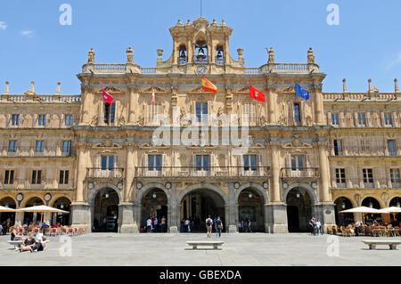 Town hall, Plaza Mayor, Salamanca, Castile-Leon, Spain