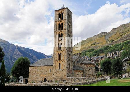 Sant Climent, romanesque church, Taull, La Vall de Boi valley, Pyrenees, province LLeida, Catalonia, Spain - Stock Photo