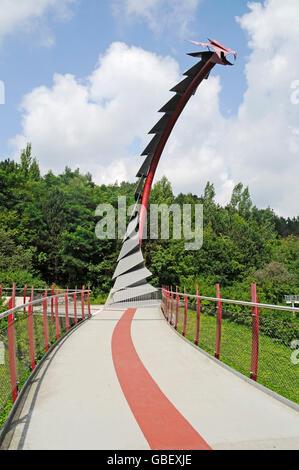 Dragon's bridge, Halde Hoheward, mine heap, landscape park, Herten, Ruhr Area, North Rhine-Westphalia, Germany / - Stock Photo