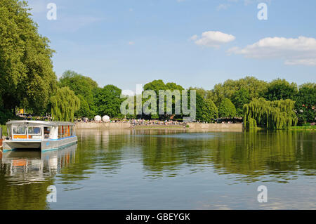 Aasee, lake, recreational area, Muenster, Muensterland, North Rhine-Westphalia, Germany / Münsterland, Münster - Stock Photo