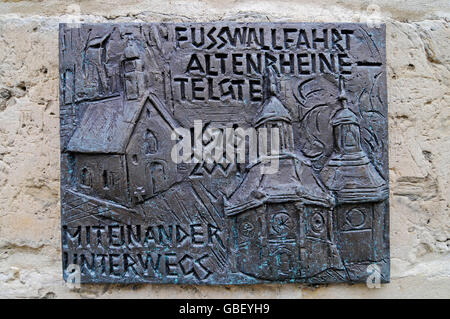 memorial plaque, Marian pilgrimage, pilgrimage chapel, pilgrimage site, Telgte, Muensterland, North Rhine-Westphalia, - Stock Photo