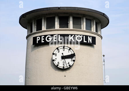 Level Cologne, clock, water level indicator, tide scale, waterside promenade, Cologne, Koeln, Rhineland, North Rhine - Stock Photo