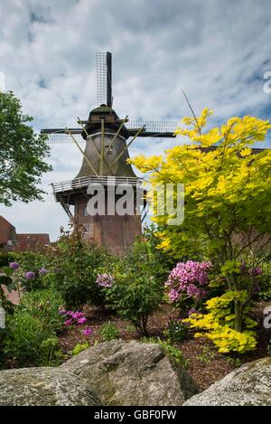 Galerie-Hollaender-Windmuehle, erbaut 1870, Saterland, Oldenburger Muensterland, Niedersachsen, Deutschland - Stock Photo
