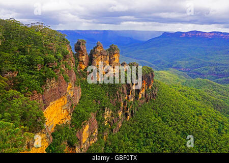 Three Sisters from Echo Point in Blue Mountains, NSW, Australia. - Stock Photo