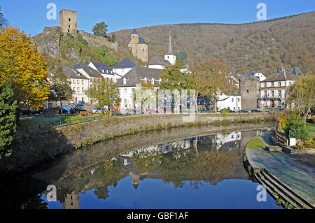 Esch sur Sure, Obersauer, Sauer, Sure, Upper Sure, National Park, Luxembourg - Stock Photo