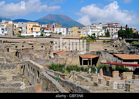 archaeological site, Herculaneum, Ercolano, Naples, Campania, Italy - Stock Photo