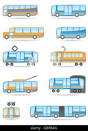 Public transport icons set - vector illustration - Stock Photo