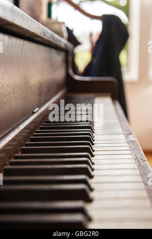 Upright-piano keyboard - Stock Photo