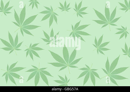 Green cannabis leafs on a green background pattern - Stock Photo