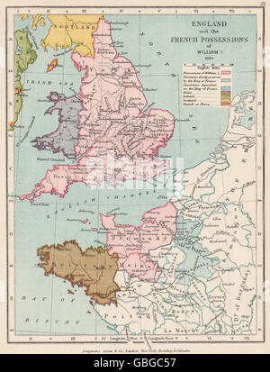 NORMANS: William the Conqueror's lands in France & England 1087, 1907 old map - Stock Photo