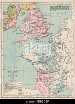 ENGLAND & FRANCE: Kingdoms & dependencies in 1259. English possessions, 1907 map - Stock Photo