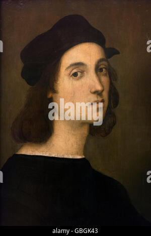 Florence. Italy. Uffizi Gallery. Self Portrait by Raphael (c.1506), Oil on wood. - Stock Photo