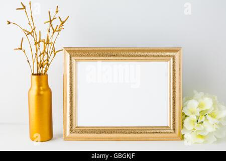 Landscape gold frame mockup. Landscape mockup. Frame mockup. Poster Mockup. Styled mockup. Product mockup.  Design - Stock Photo