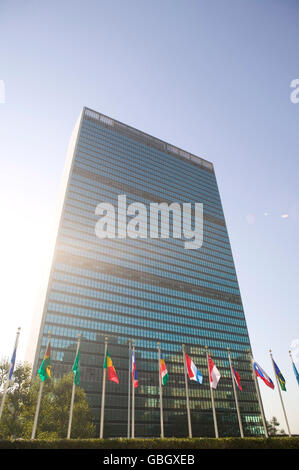 8 September 2005 - New York City - Member state flags fly in front of the United Nations headquarters building.
