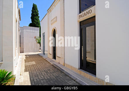family graves, graves, tombs, cemetery, Otranto, Lecce Province, Puglia, Italy - Stock Photo
