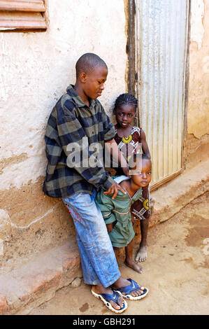 children playing in Bobo-Dioulasso the alley where they live - Stock Photo