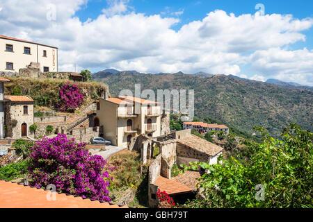 The medieval village of Savoca in the Peloritani Mountains near Messina on the Italian island of Sicily - Stock Photo