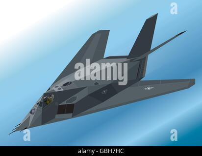 Detailed Isometric Illustration of an F-117 Nighthawk Stealth Fighter Airborne - Stock Photo