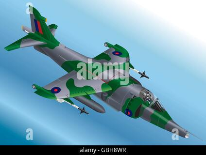 Detailed Isometric Vector Illustration of a Royal Air Force Harrier Jet Fighter - Stock Photo
