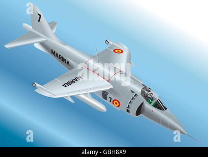 Detailed Isometric Vector Illustration of a Spanish Navy AV-8S Matador Vertical Take Off Jet Fighter - Stock Photo
