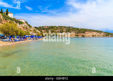 A view of Pythagorion beach, Samos island, Greece - Stock Photo