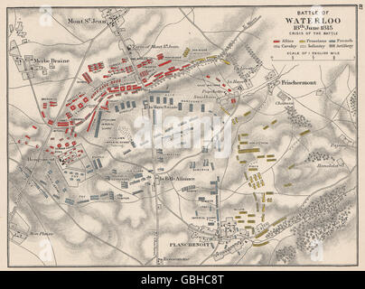BATTLE OF WATERLOO: 18th June 1815 'crisis of the battle', 1907 antique map - Stock Photo