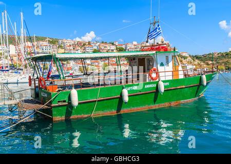 SAMOS ISLAND, GREECE - SEP 25, 2015: Greek tourist boat on sea water in Pythagorion port, Samos island, Greece. - Stock Photo