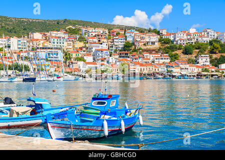 Traditional blue and white colour Greek fishing boats in Pythagorion port, Samos island, Greece - Stock Photo