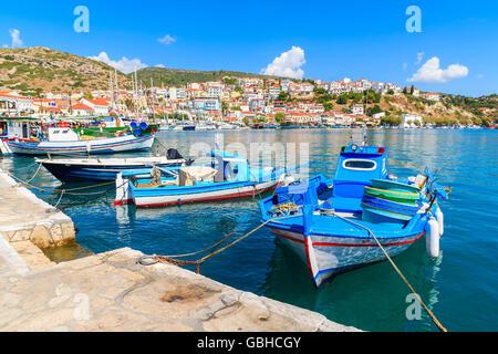 Traditional Greek fishing boats in Pythagorion port, Samos island, Greece - Stock Photo