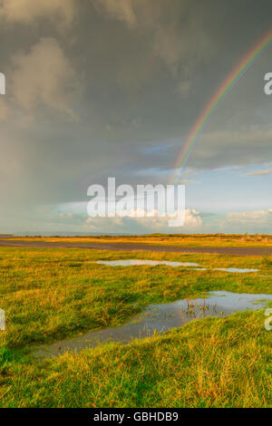 Rainbow at Northam Burrows Country Park - Stock Photo