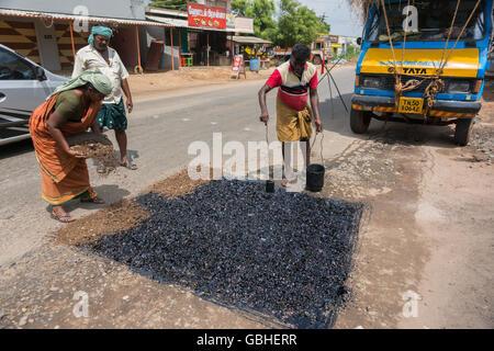Road repair in Madurai. - Stock Photo
