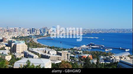View over Baku, the capital of Azerbaijan. - Stock Photo