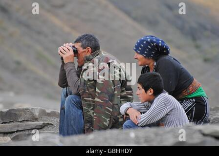 Shepherd family in Xinaliq mountainous village in Azerbaijan - Stock Photo
