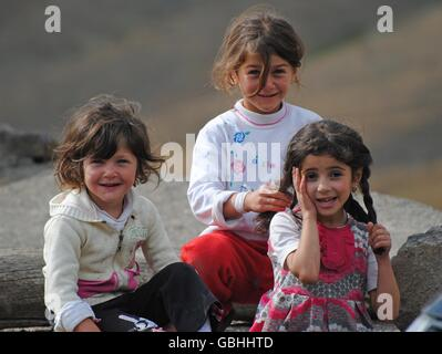Young Xinaliq beauties in Azerbaijan. - Stock Photo