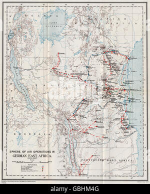FIRST WORLD WAR:Air Operations in German East Africa,1915-1917.Tanzania 1931 map - Stock Photo