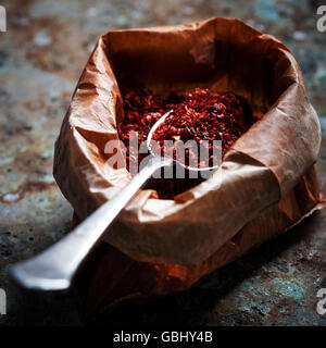 Pul biber in craft bag - Stock Photo