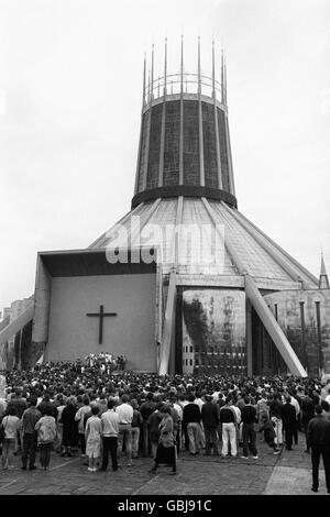 Hillsborough Disaster - Requiem Mass - Metropolitan Cathedral - Liverpool - Stock Photo