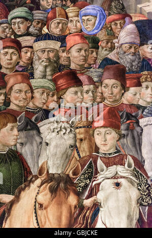 Florence. Italy. Fresco cycle of The Procession of the Magi by Benozzo Gozzoli, detail of Lorenzo de'Medici (centre). - Stock Photo