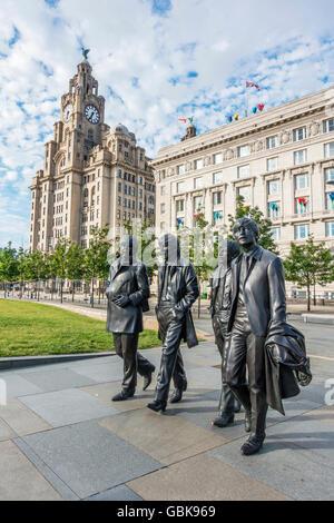 The Beatles Statue Pier Head Liverpool England UK - Stock Photo